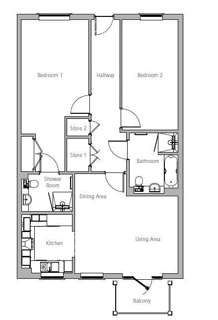 New Build, Apartment 31 Brook House Floorplan