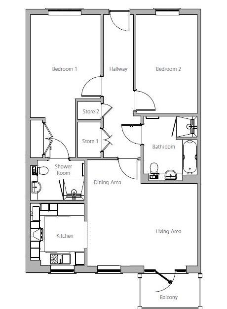 New Build, Apartment 32 Brook House Floorplan