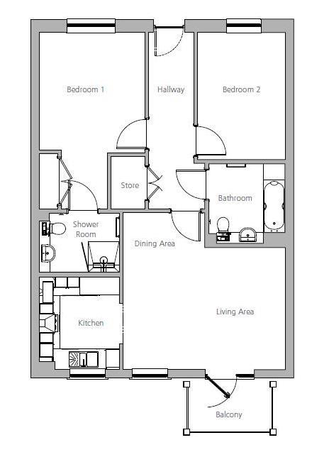 New Build, Apartment 57 Brook House Floorplan