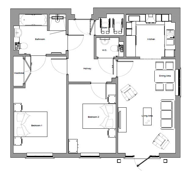 New Build, Apartment 13 Brook House Floorplan